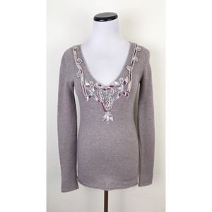 We The Free Embroidered Lace Wool Blend Sweater